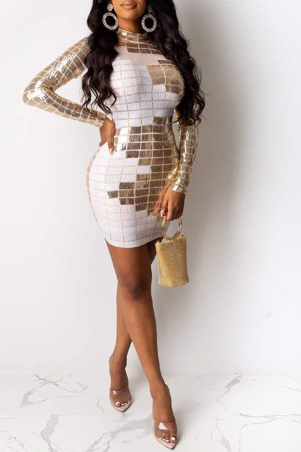 Square Pattern Bronzing Sequins Dress