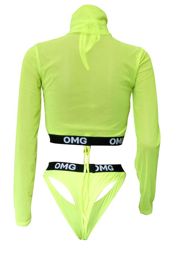 Long Sleeve character High Neck Beach Swimsuit