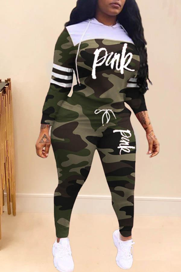 Long Sleeve Camouflage Hooded collar Casual Wear Set