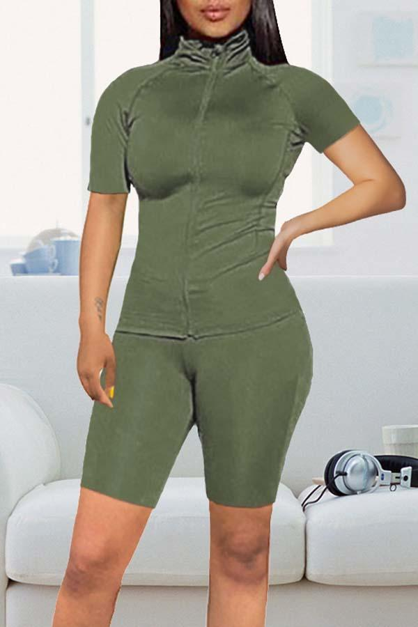 Short Sleeve Solid Color High Neck Irregular Set