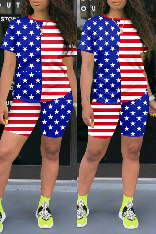 National flag Round Neck Casual Wear Short Set