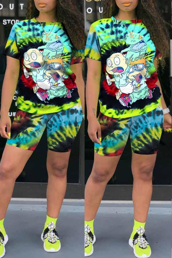 Short Sleeve Cartoon Tie Dye Print Round Collar Short Set