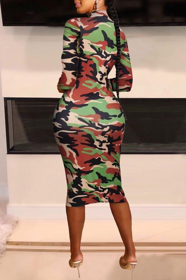 Long Sleeve Camouflage Round Collar Casual Wear Dress