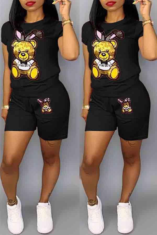 Short Sleeve Animal Print Round Neck Casual Short Set