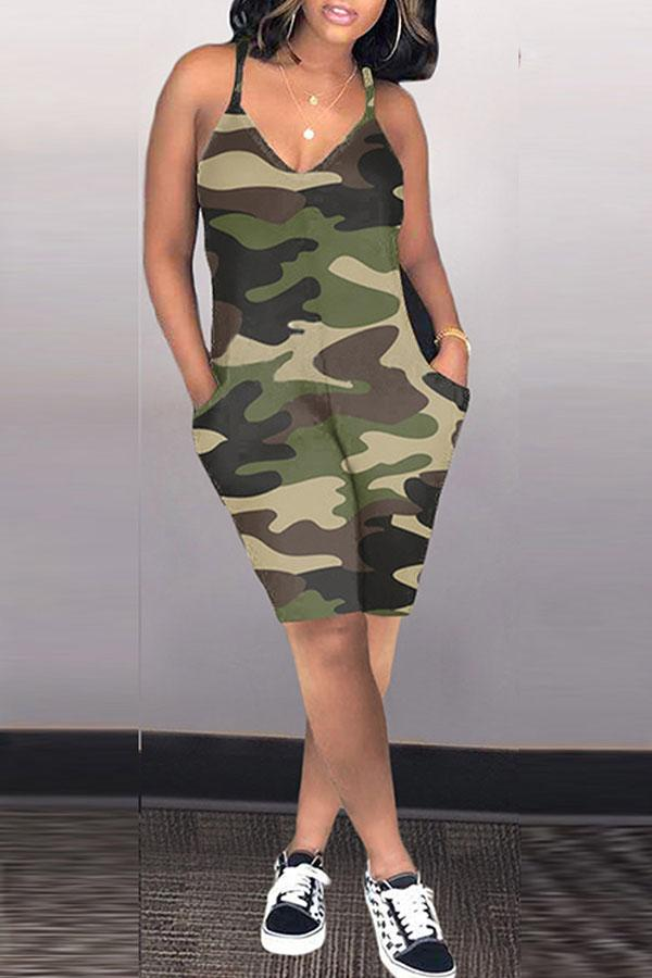 Sleeveless Camouflage V Neck Casual Romper