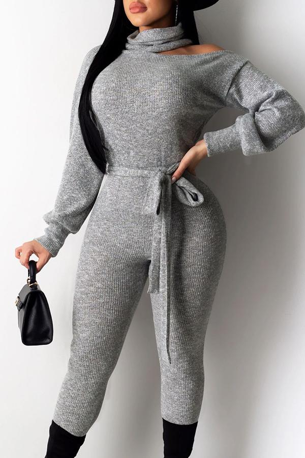 Long Sleeve Solid Color High Neck Casual Wear Jumpsuit