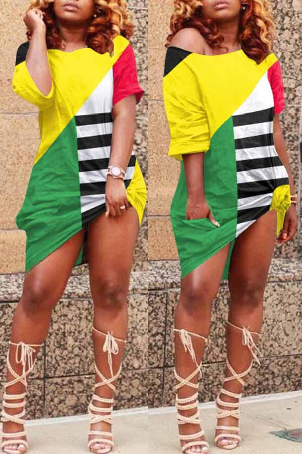 National flag Round Neck Casual Wear Dress