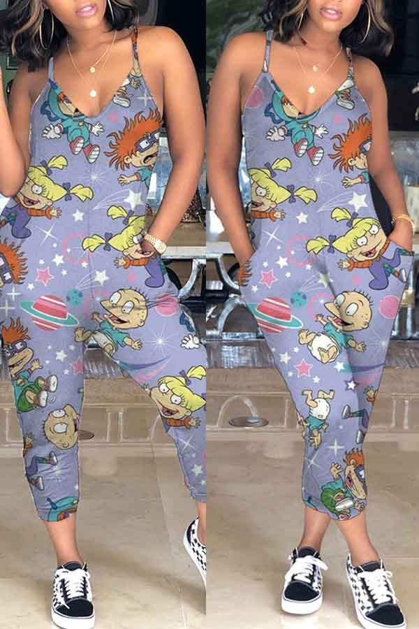 Sleeveless Cartoon Print V Neck Casual Wear Jumpsuit