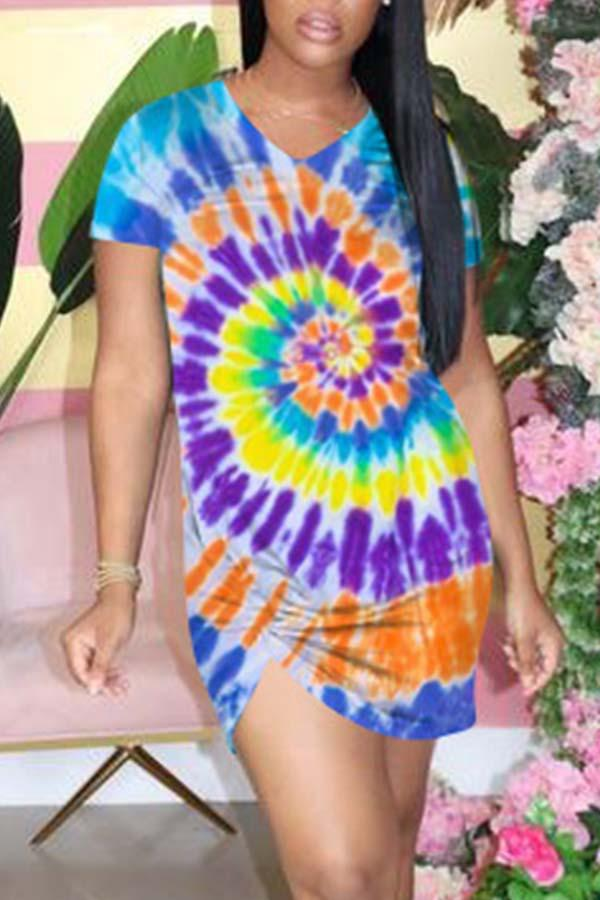 Tie Dye V Neck Knotted Dress