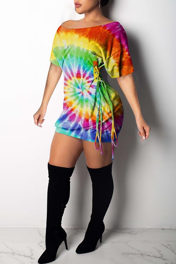 Short Sleeve Tie Dye Round Collar Flared Dress