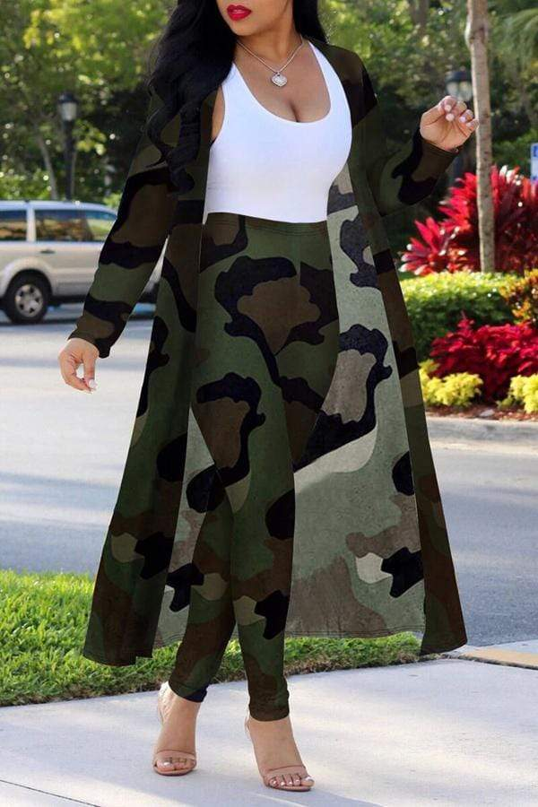 Camouflage Printed Cardigan & Pants
