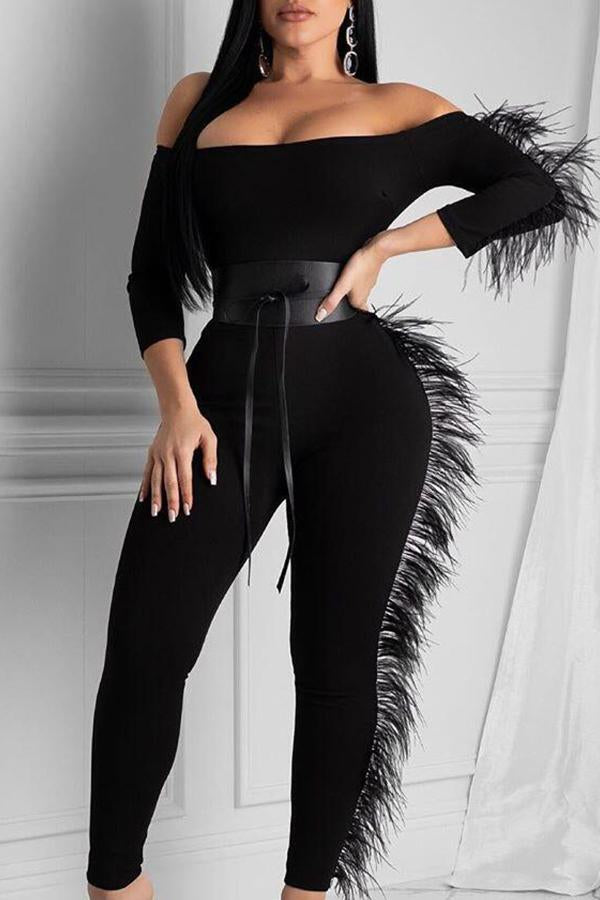 Long Sleeve Solid Color Off Shoulder Casual Wear Jumpsuit