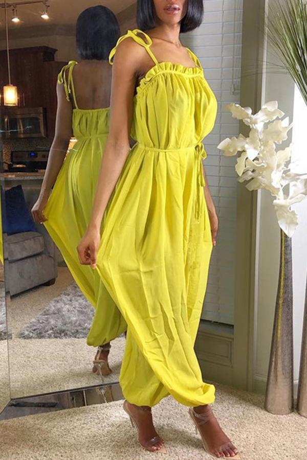 Sleeveless Solid Color Spaghetti Strap Casual Wear Jumpsuit