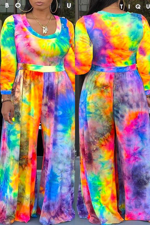Long Sleeve Tie Dye Round Neck Casual Wear Jumpsuit