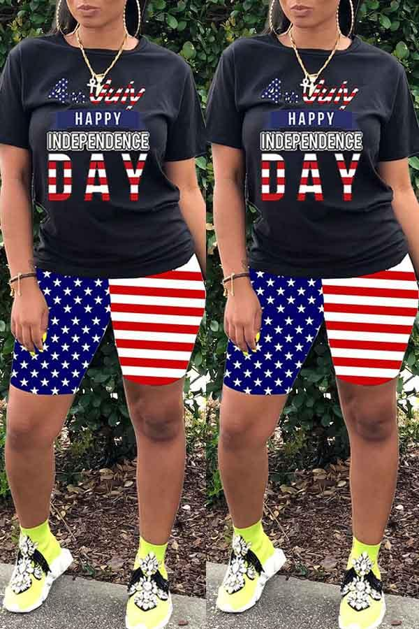 National flag Round Neck Leisurewear Short Set