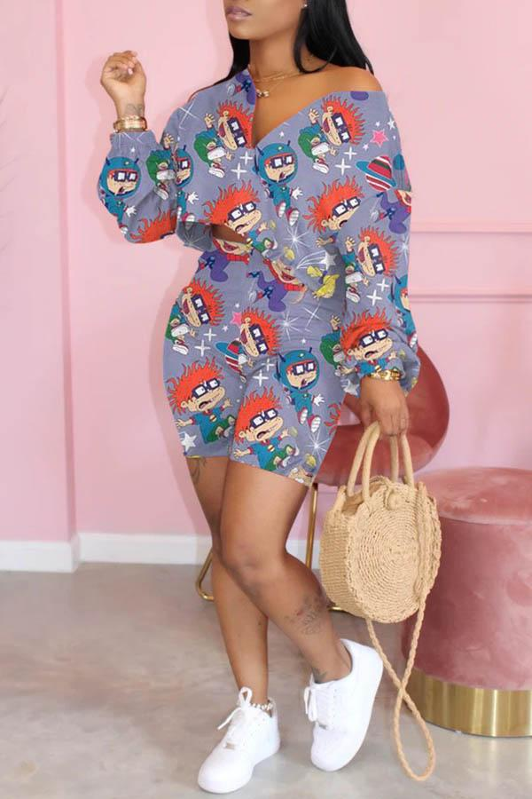 Long Sleeve Cartoon Print V Neck Leisurewear Set
