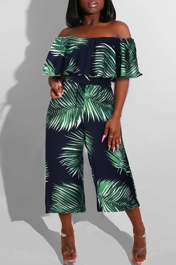Short Sleeve Leaf Print Off Shoulder Casual Wear Jumpsuit
