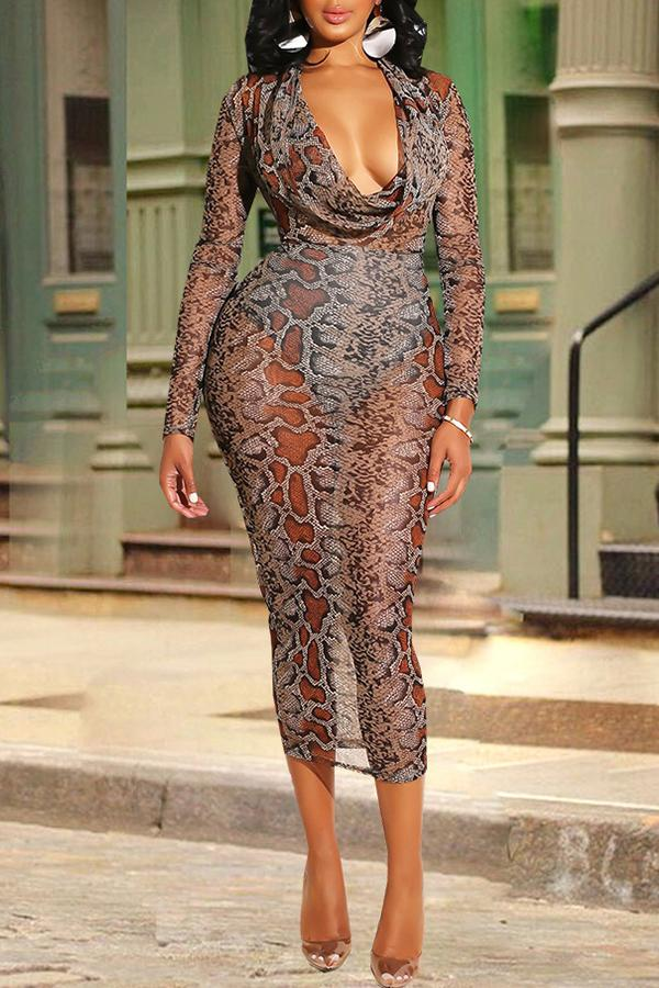 Long Sleeve Snake Print Deep V Neck Casual Wear Dress