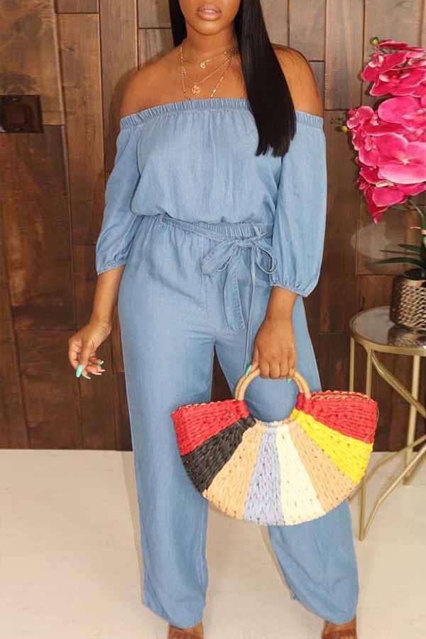 Long Sleeve Solid Color Off Shoulder Casual Jumpsuit