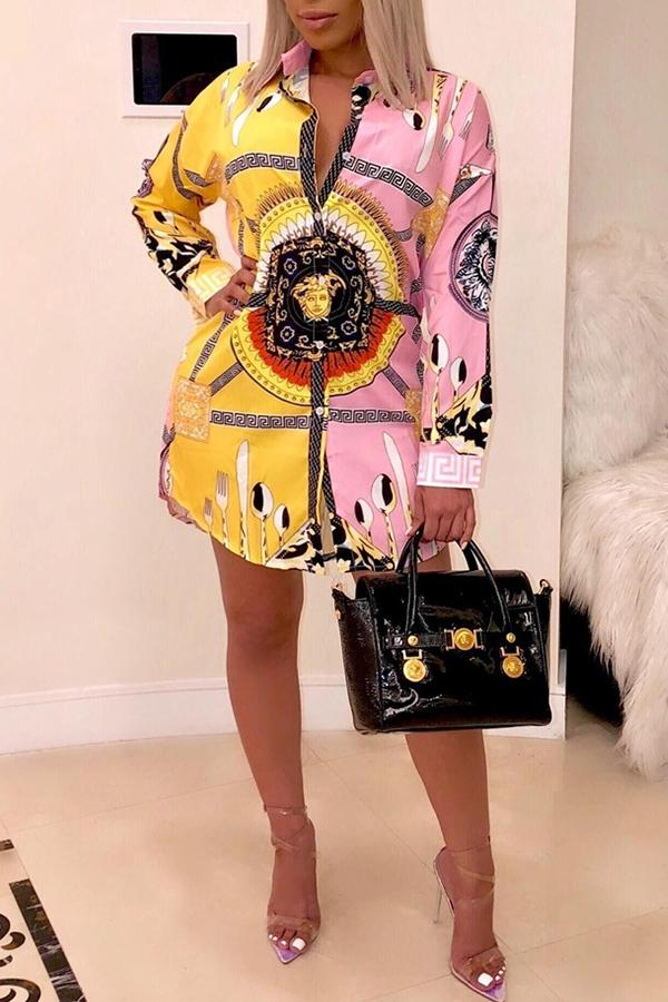 Long Sleeve Graphic Print Turtle Neck Dress