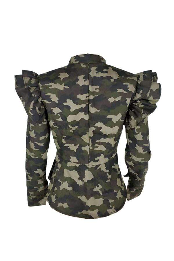 Fashion Camouflage Print Stand Collar Coat
