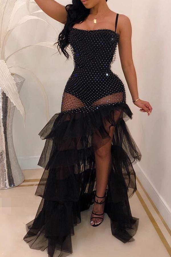 Sexy See-through Slim Fit Sling Floor Length Dress