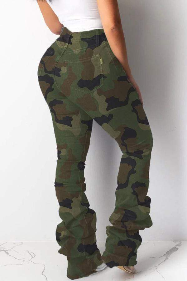 Camouflage Printed Hole Distressed Stacked Pants