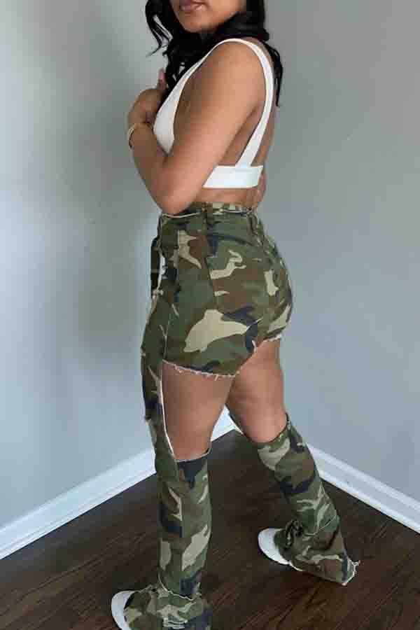 Camouflage Flared Hole Pants