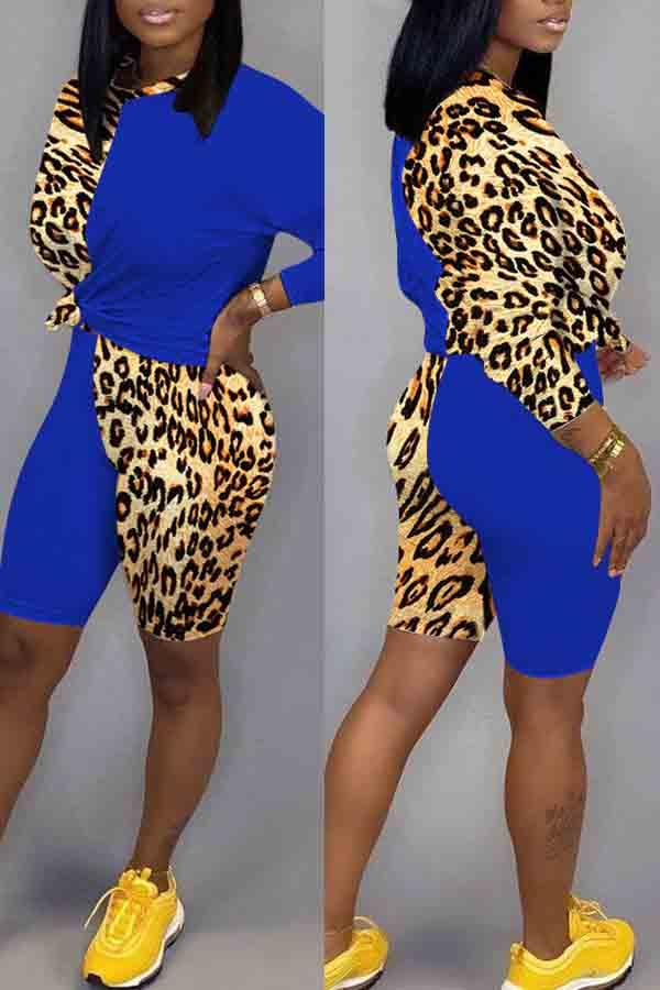 Long Sleeve Leopard Print Round Neck Casual Wear Set