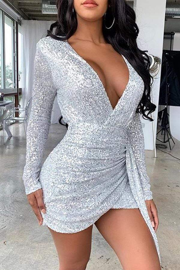 Long Sleeve Sequined V Neck Casual Wear Dress