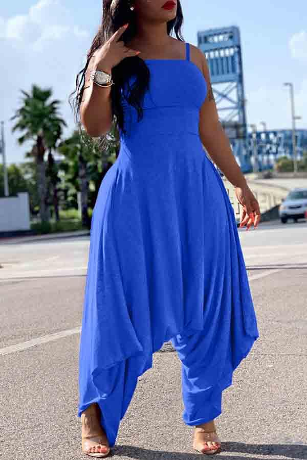Solid Colour Suspender Loose Jumpsuit