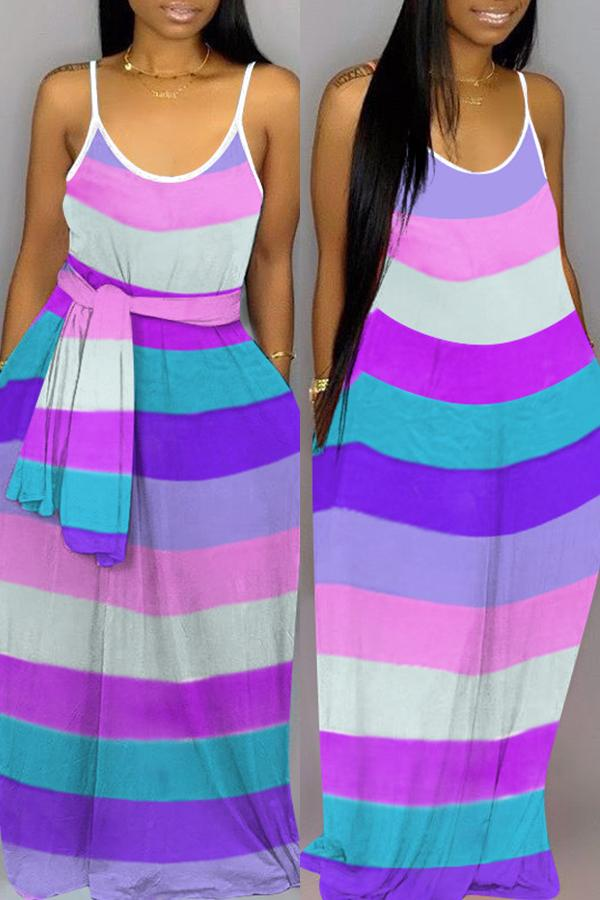 Rainbow Spaghetti Strap Casual Wear Dress(without belt)