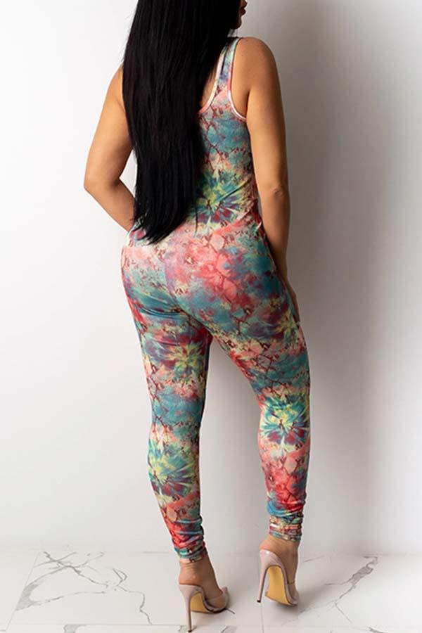 Sleeveless Natural Print Regular Fit Bodycon Jumpsuit