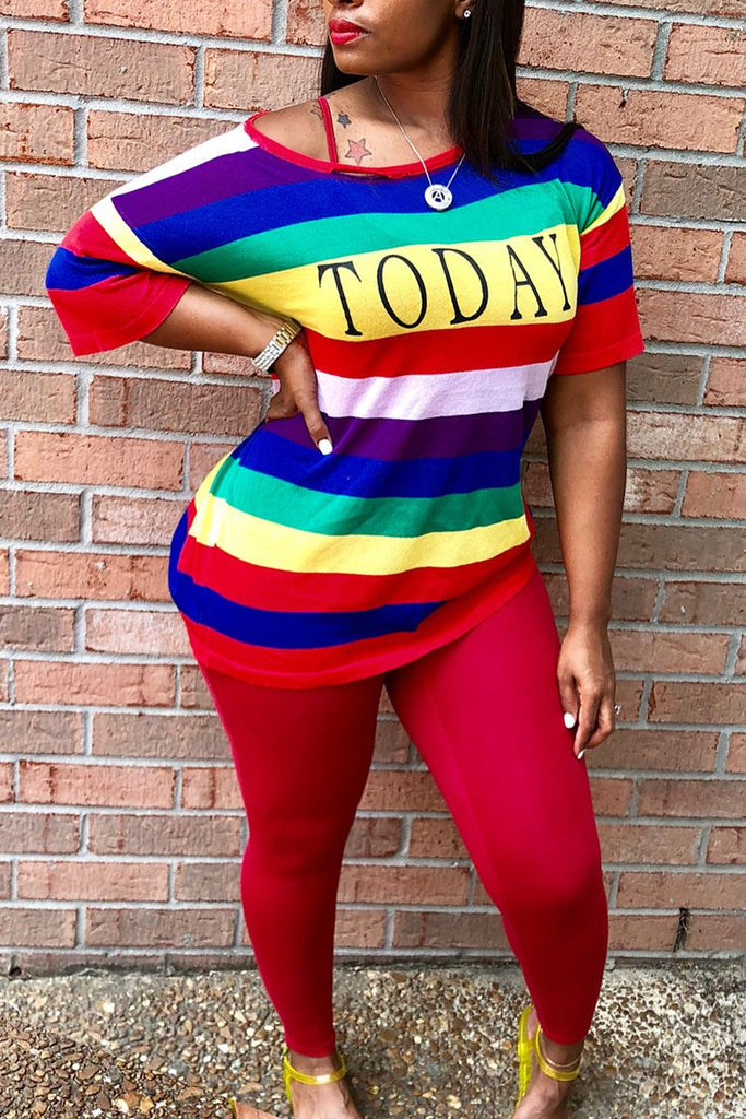 Half Sleeve Rainbow Slash Neck Casual Wear Set