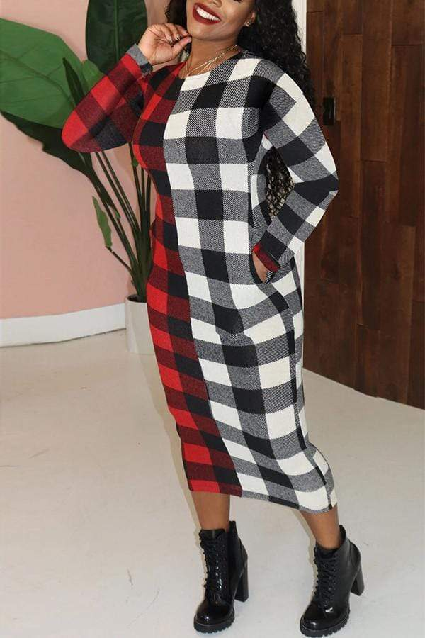 Long Sleeve Plaid Round Neck Bodycon