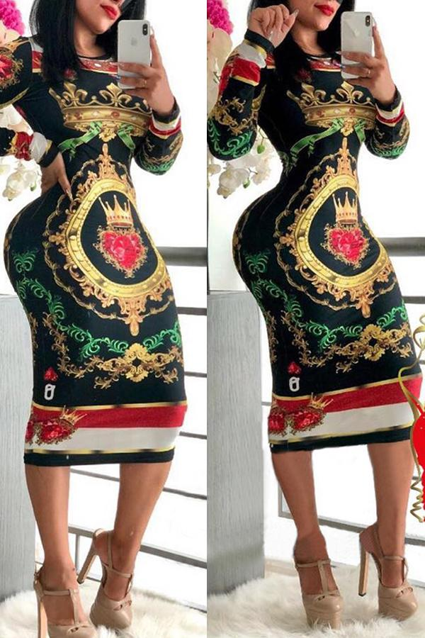 Long Sleeve Natural Print Turtle Neck Casual Wear Dress
