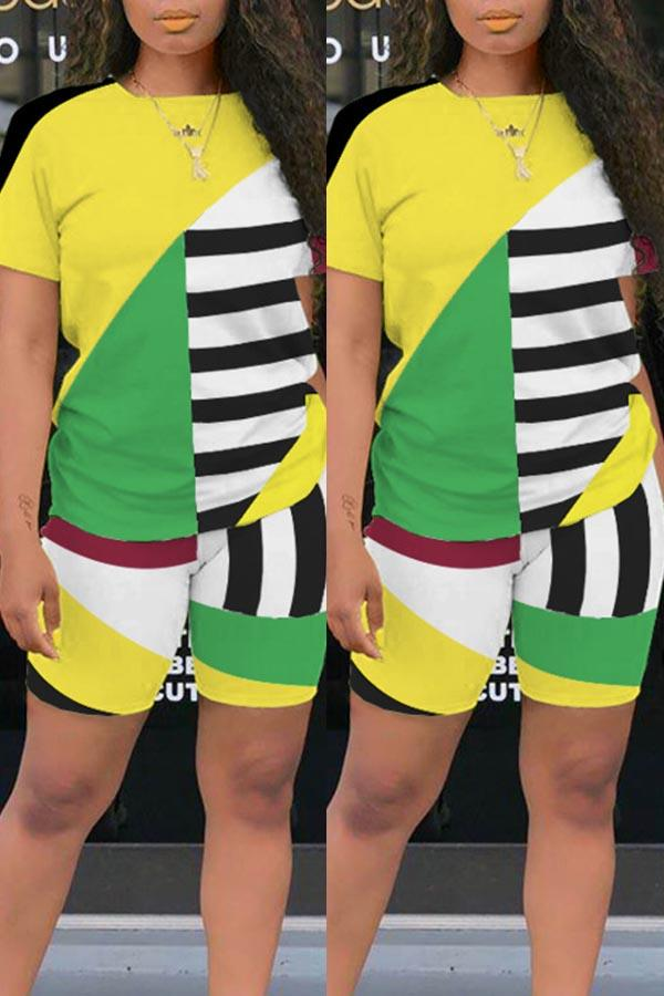 Striped Round Collar Leisurewear Short Set