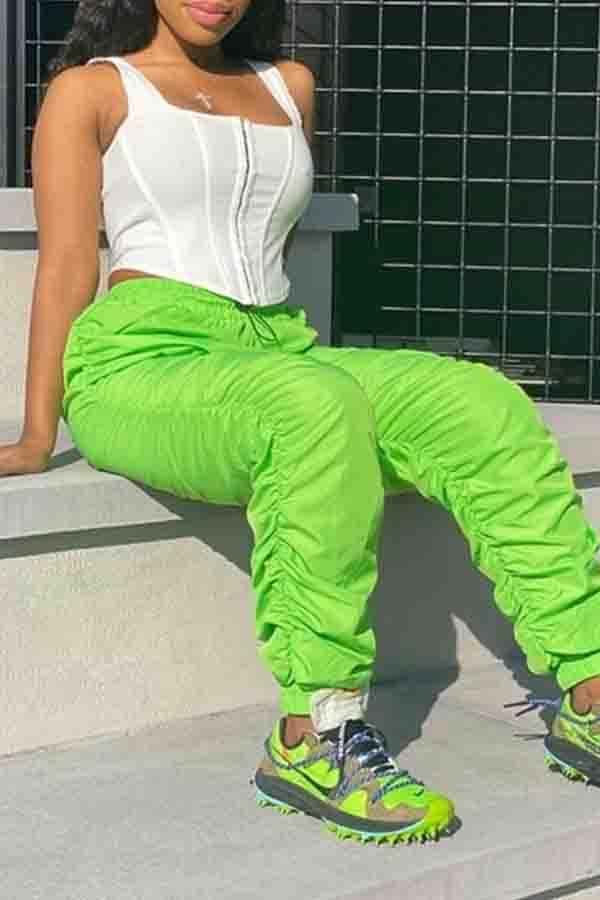 Medium Rise Solid Color Regular Fit Casual Wear Pants