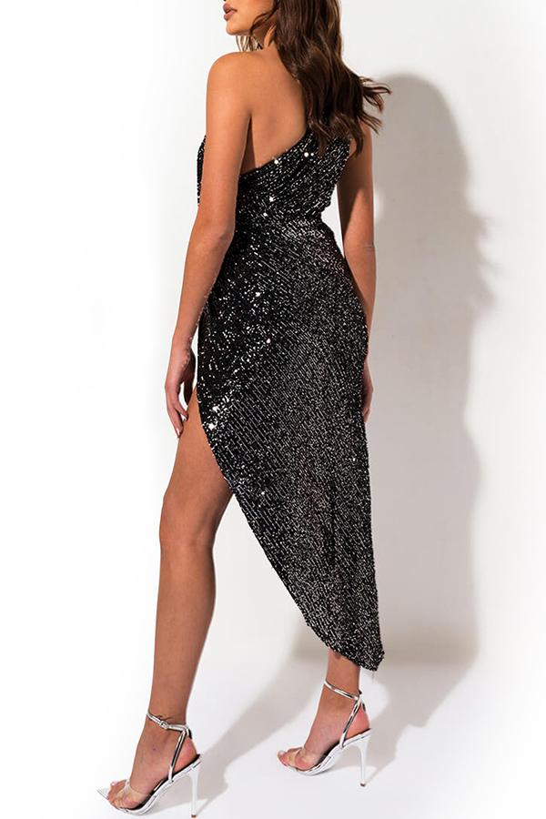 Sleeveless Sequin One Shoulder Casual Wear Dress