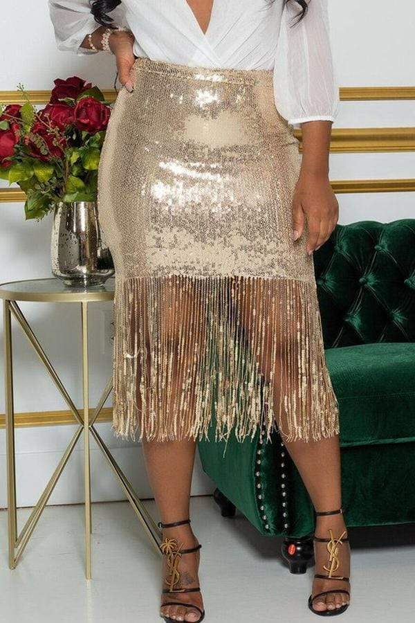 High Waist Sequined Skinny Fit Bodycon Skirt