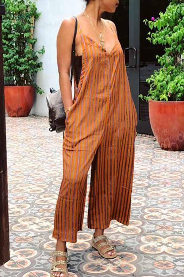 Sleeveless Striped V Neck Casual Jumpsuit
