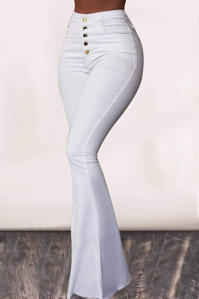 High Waist Solid Color Flared Casual Wear Pants