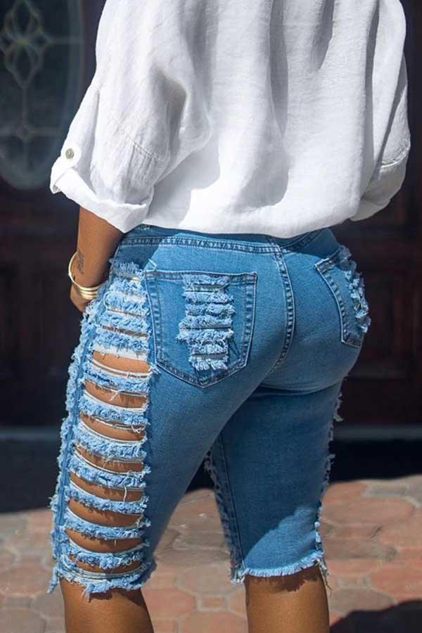 Solid Color Skinny Fit Hole Denim Shorts