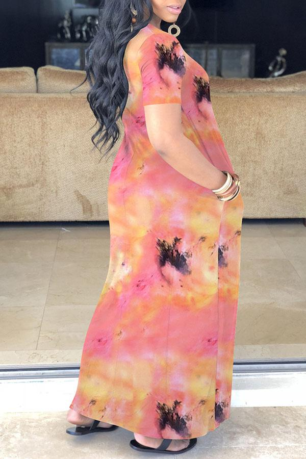 Tie Dye V Neck Leisurewear Dress