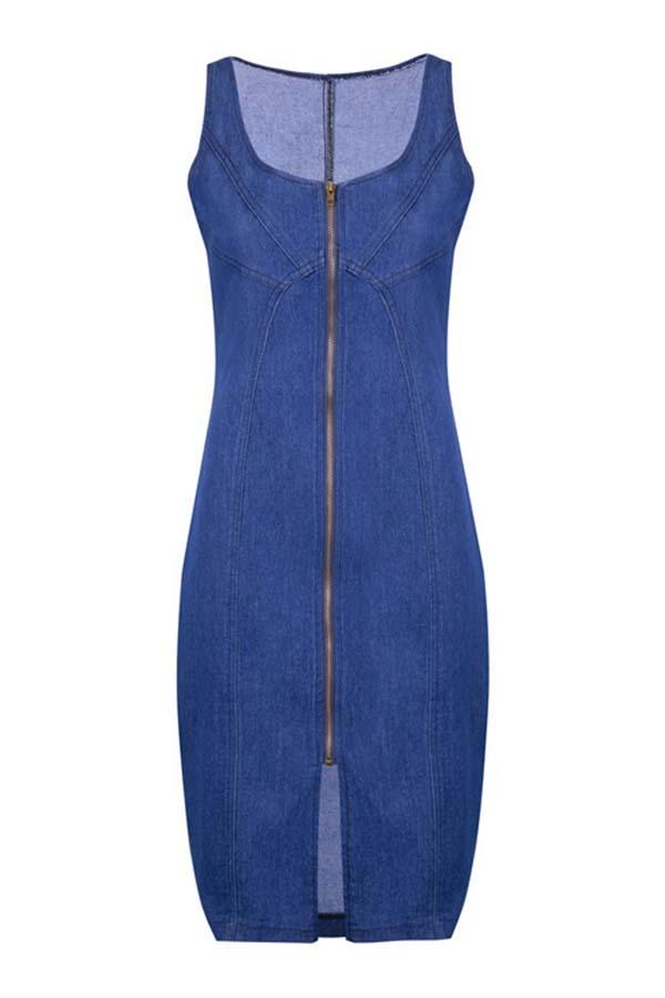 Sleeveless Blue Round Collar Bodycon Dress