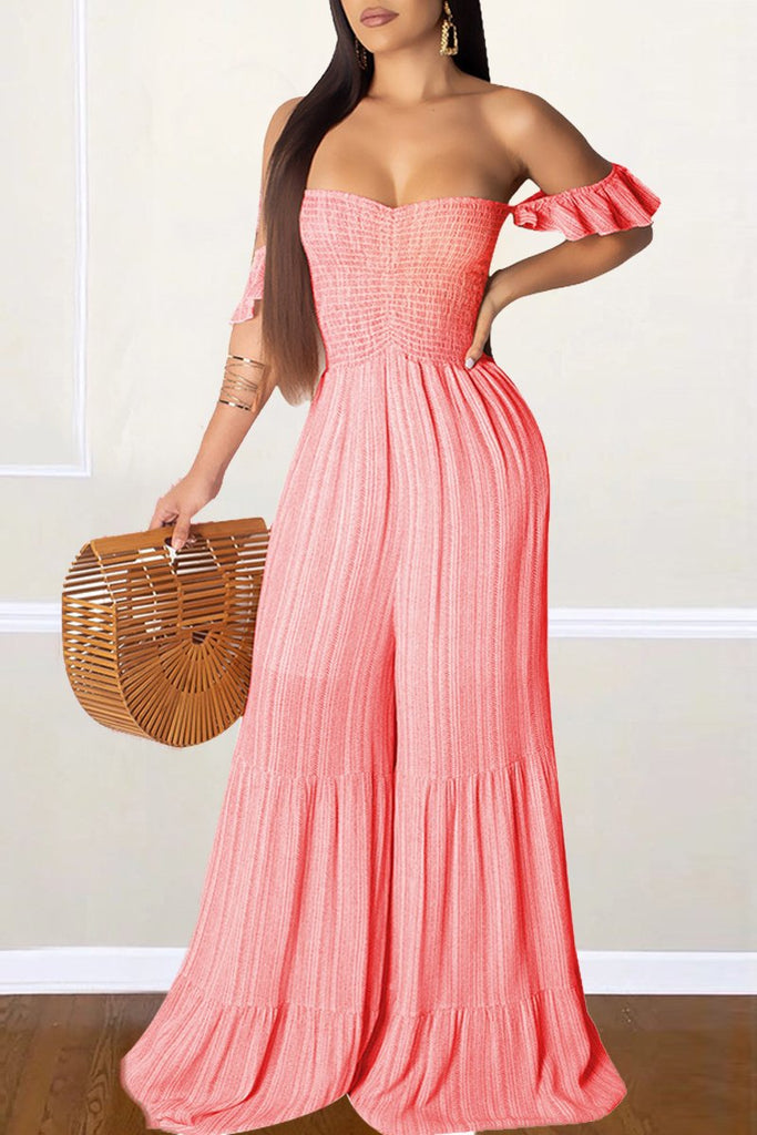 Flounce Sleeve Solid Color Strapless Pleated Jumpsuit