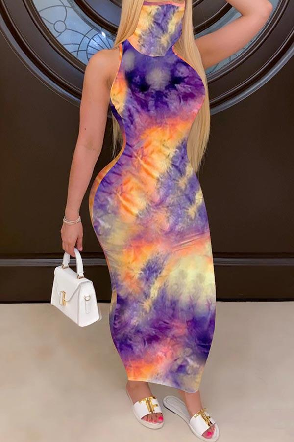 Tie Dye Round Neck Casual Wear Dress