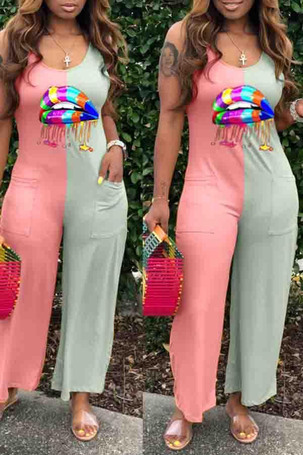 Sleeveless Lips Round Collar Leisurewear Jumpsuit