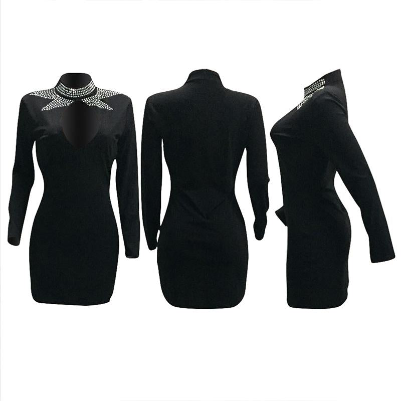 Long Sleeve Sequined Round Collar Casual Wear Dress