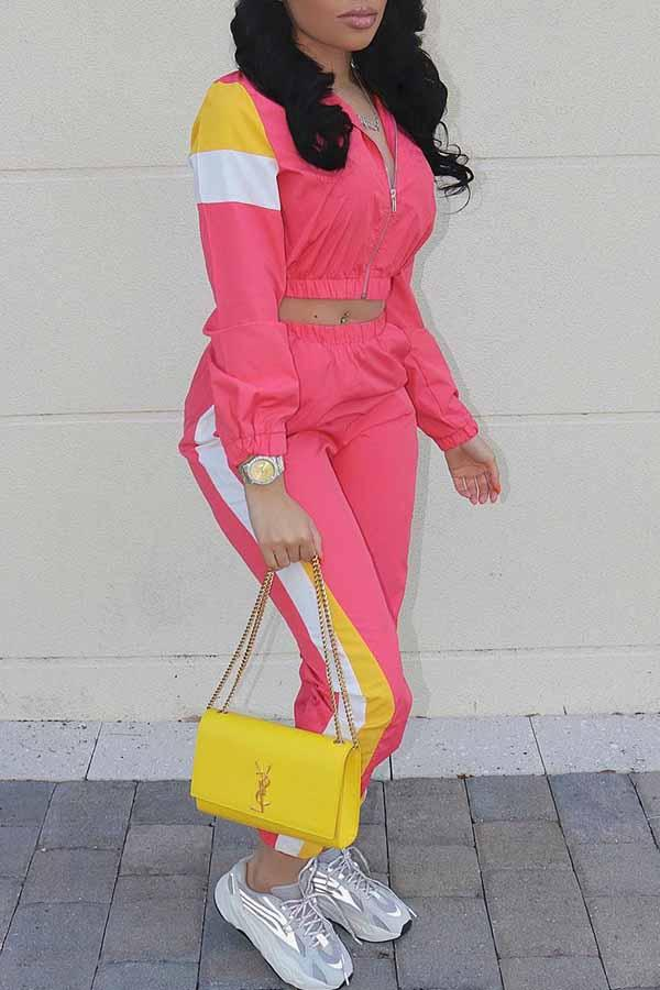 Long Sleeve Patchwork Turtle Neck Sporty Set